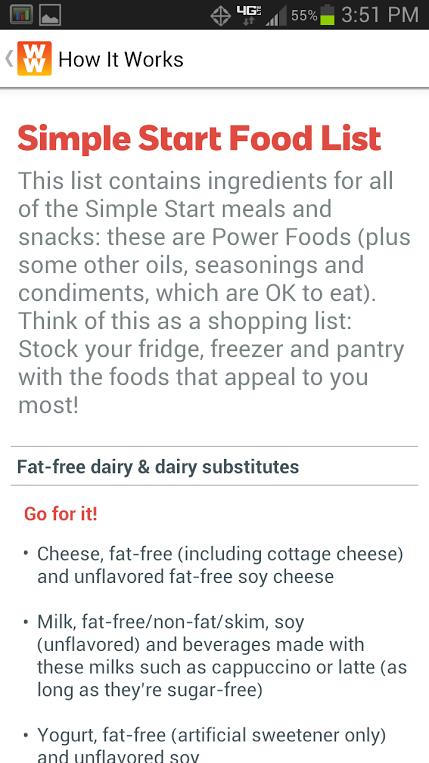 weight watchers simple start food list