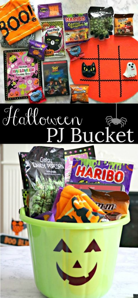 Halloween pajama, dvd, and snack bucket for kids