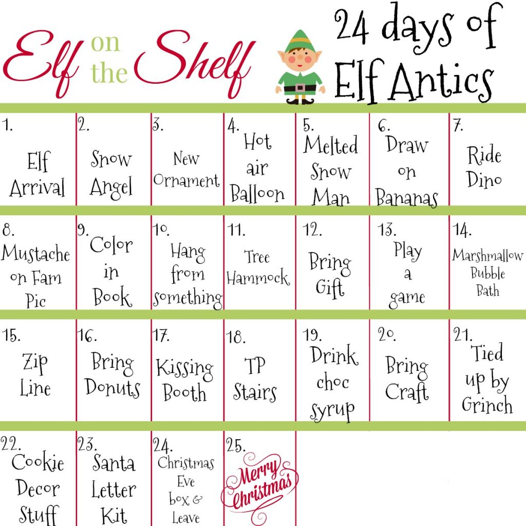 24 Days Of Elf On The Shelf Ideas December 2017 Elf Calendar