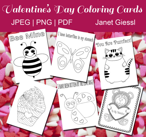 Valentines Day Coloring Cards Printable