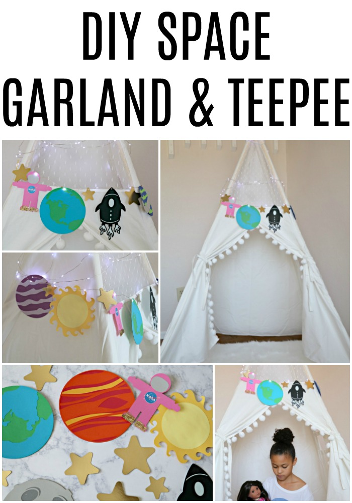 DIY Space theme garland and teepee tent
