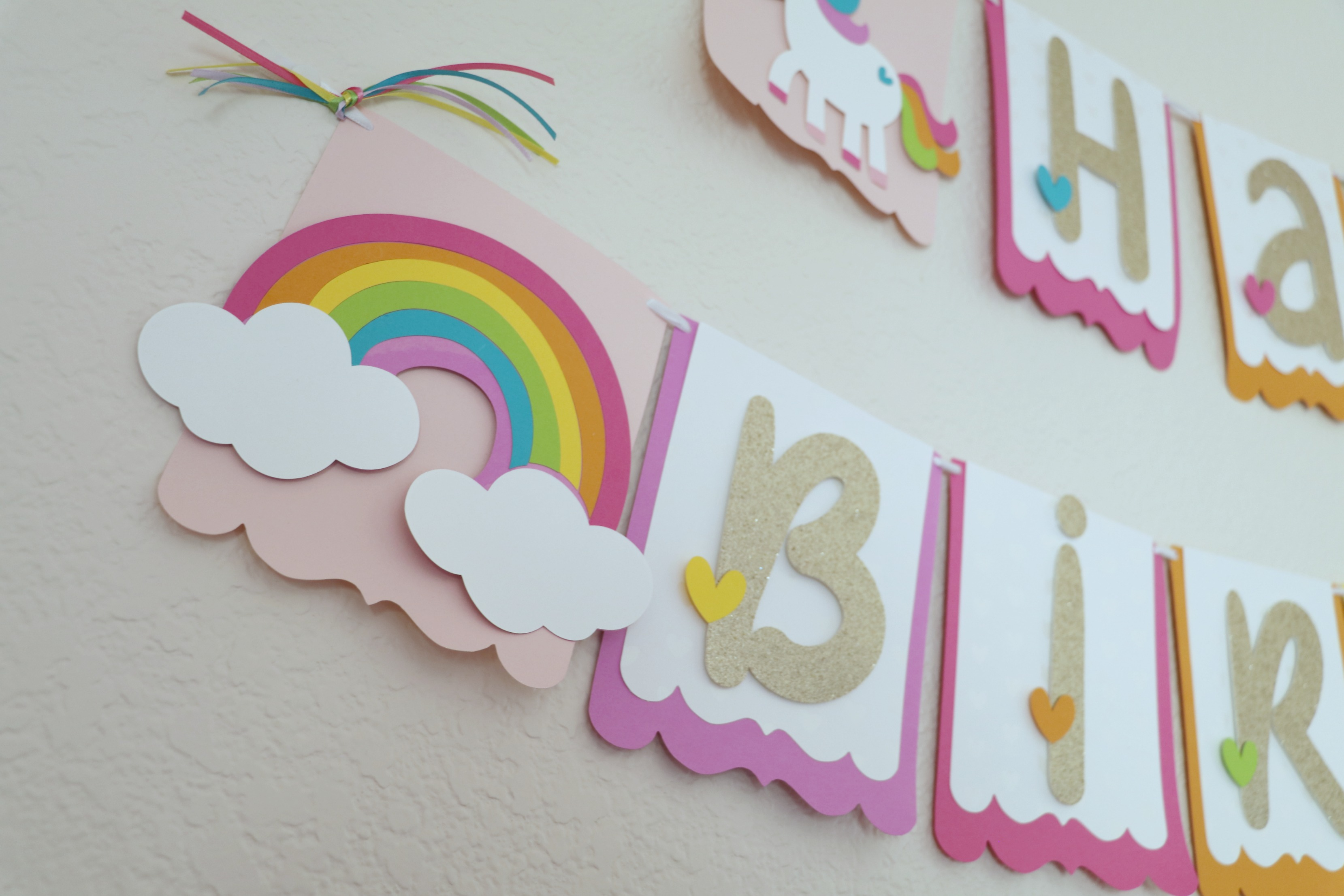 DIY Unicorn Birthday Party Decorations - Banner, Cake Topper
