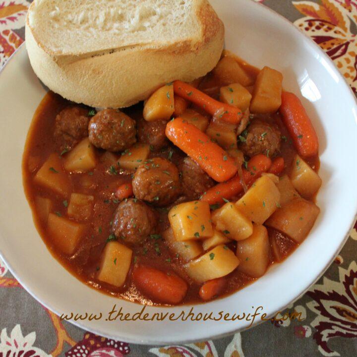 Slow Cooker Hobo Meatball Stew