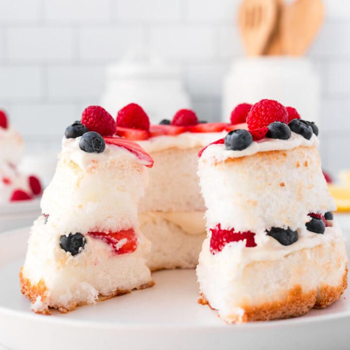4 Ingredient Lemon Berry Angel Food Cake
