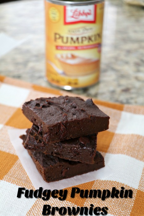 2 Ingredient Fudgey Pumpkin Brownies!