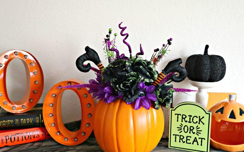 Halloween Floral Pumpkin Vase Centerpiece