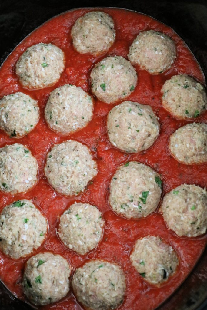 Slow Cooker Turkey Meatballs stuffed with Mozzarella