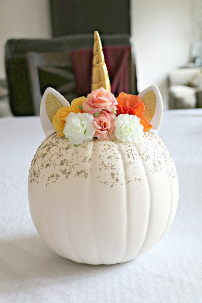 DIY Floral Unicorn Pumpkin