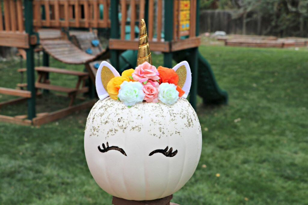 DIY Floral Unicorn Pumpkin for Halloween