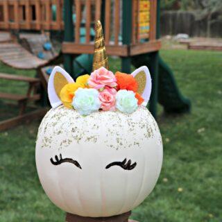 DIY Floral Unicorn Pumpkin for Halloween
