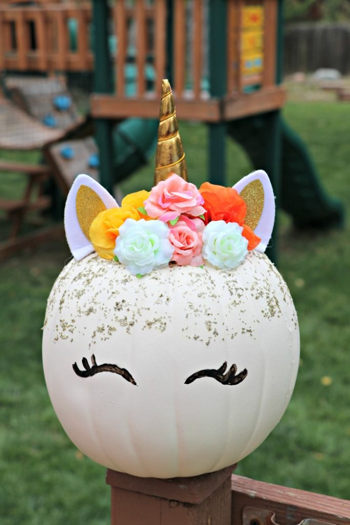 Easy DIY Floral Unicorn Pumpkin
