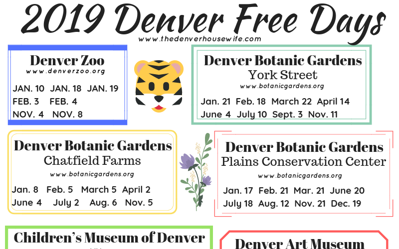2019 Denver Free Days for Museums, The Zoo, and Other Family Friendly Spots