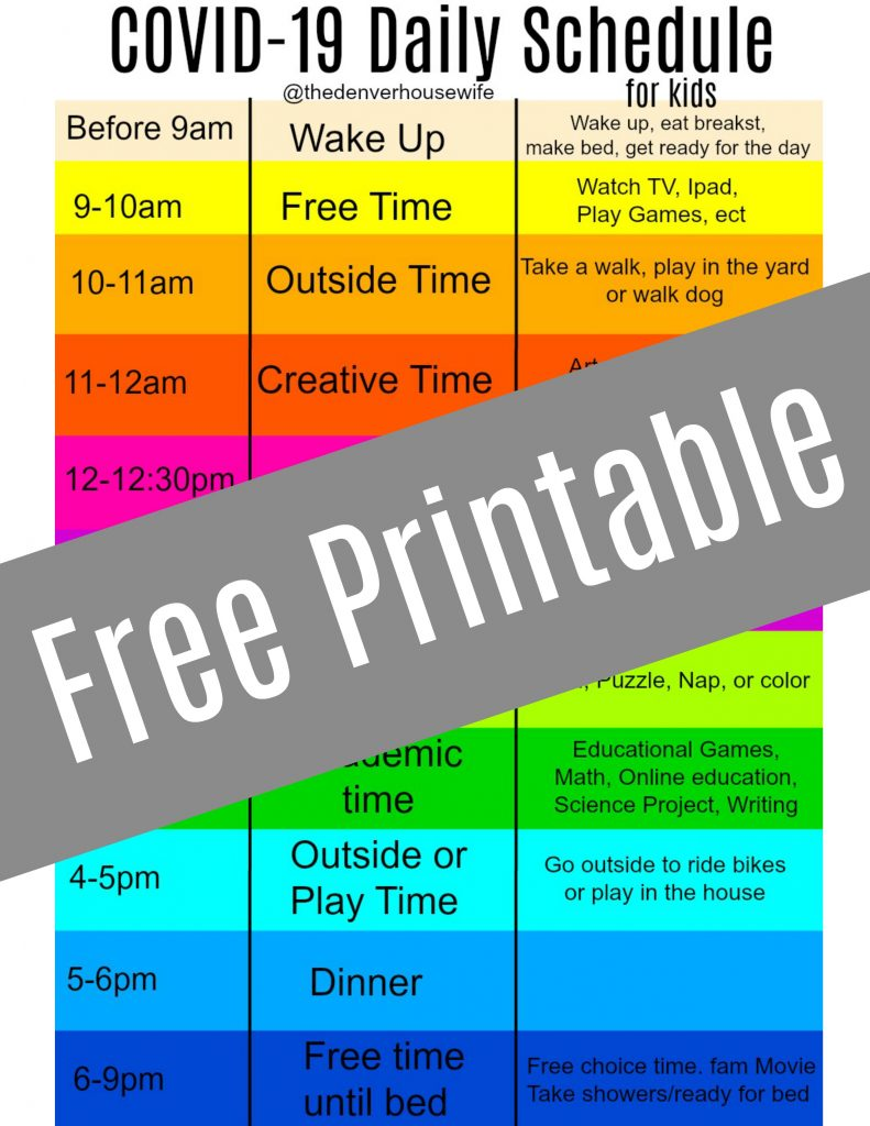 covid 19 daily schedule printable toddler and kid