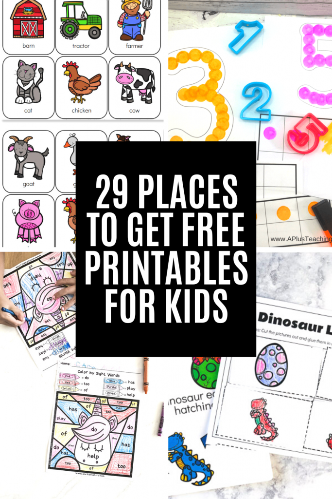 free educational printables for kids