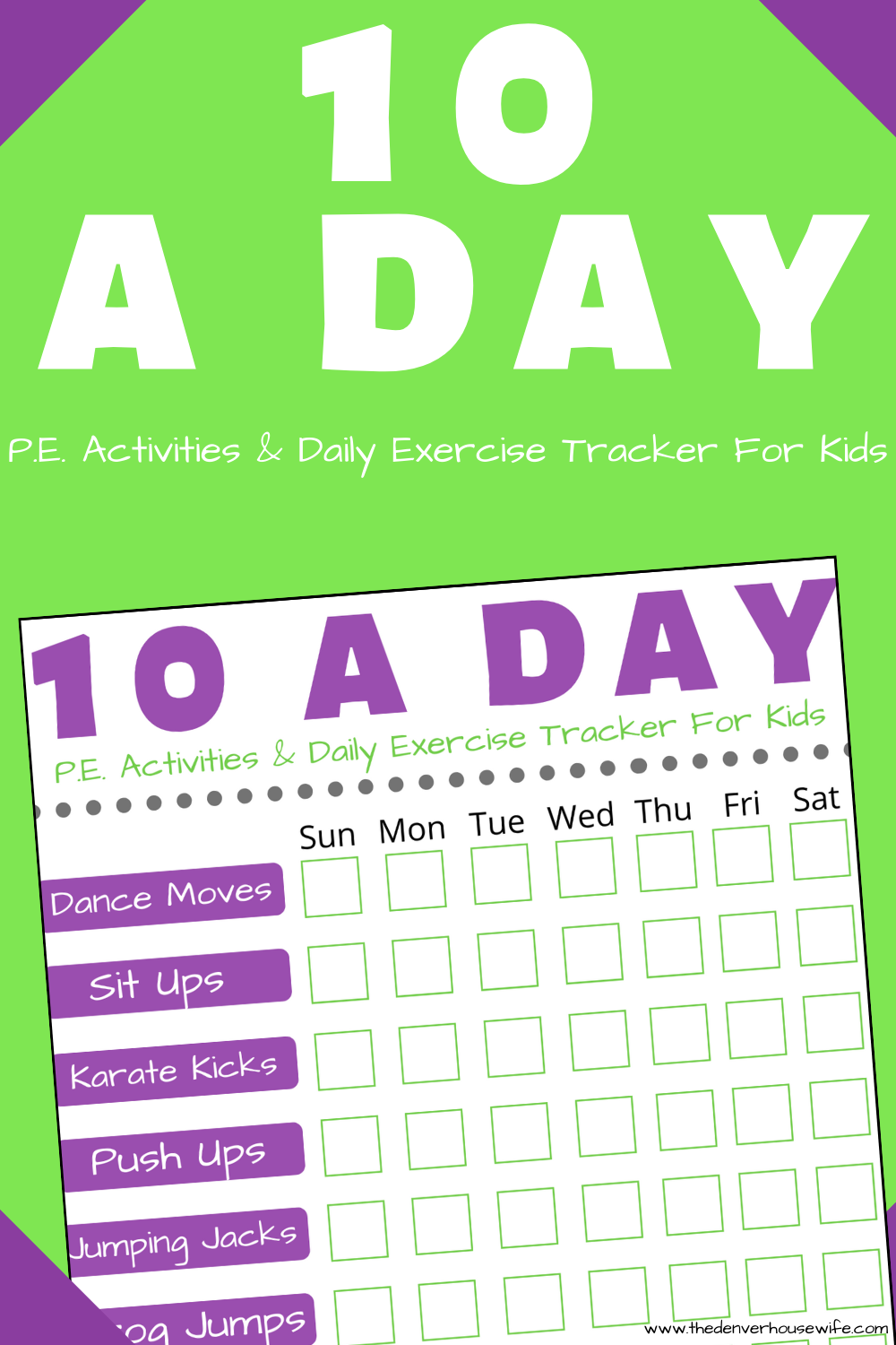 Free Printable: PE Activities for Kids to do Daily