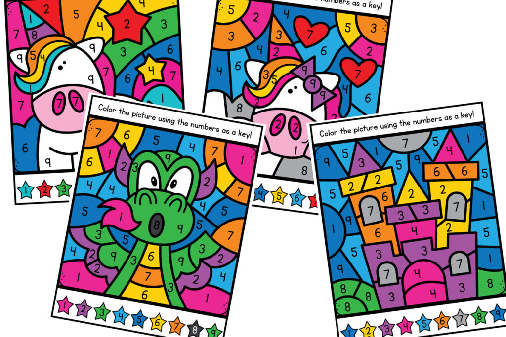 magical color by number pages for preschool or kindergarten