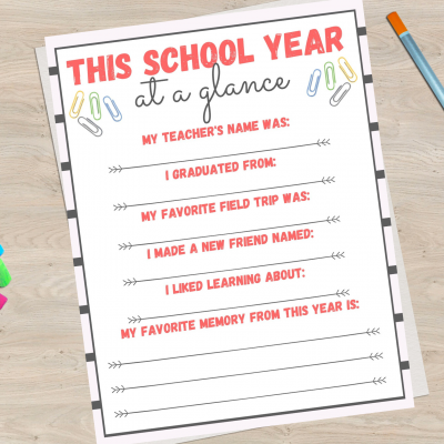 School Year at a glance Memory printable