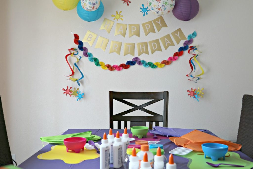 how to have a slime birthday party decorations