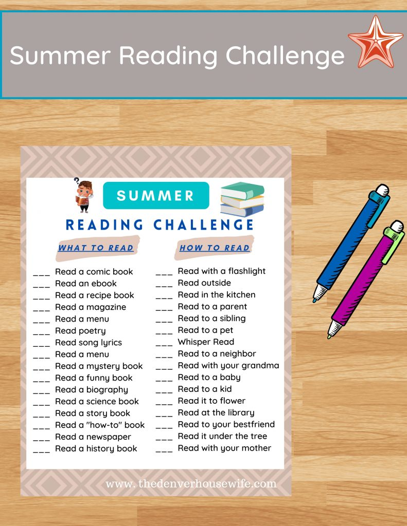 Summer Reading Challenge for Kids Free Printable