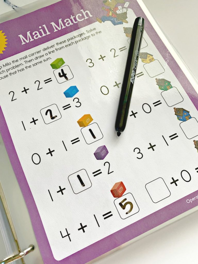 Reusable Workbook pages with dry erase marker