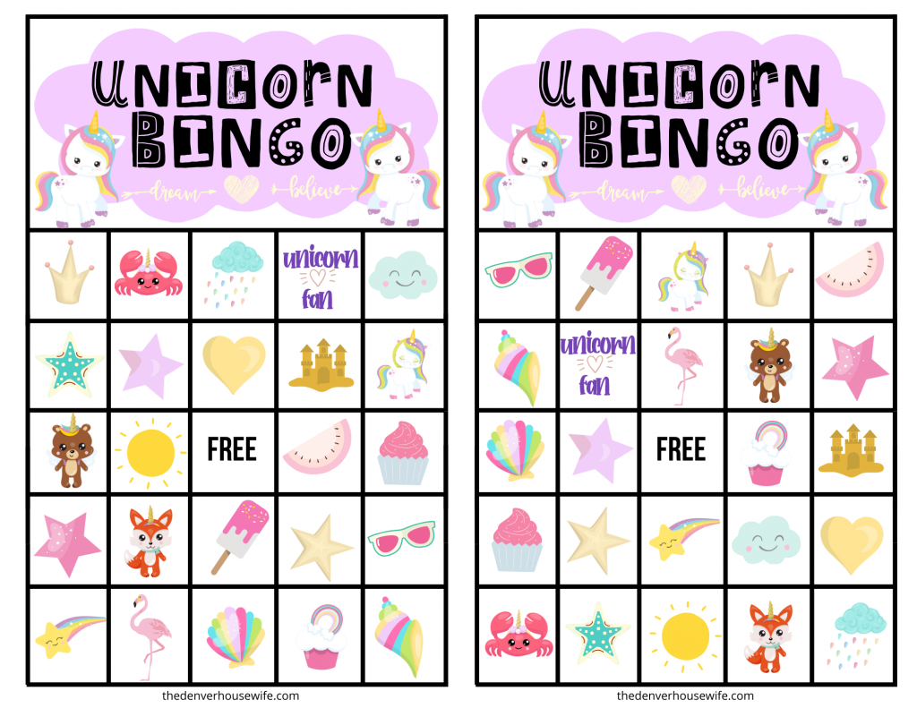 Free Printable Uncorn Bingo Game