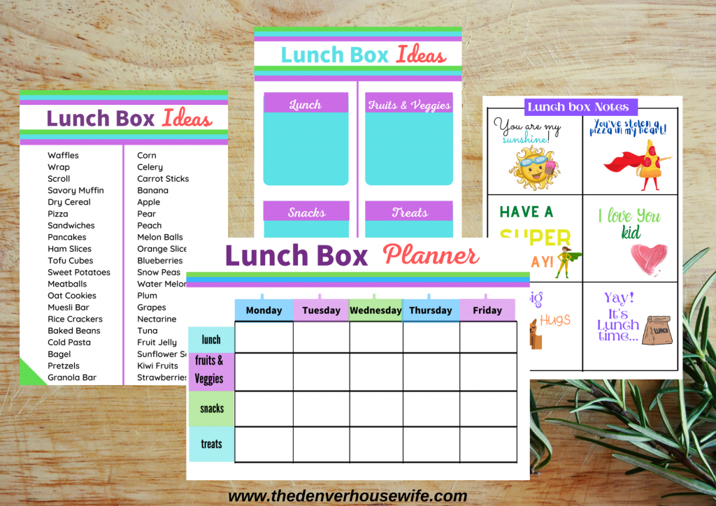 Free Lunchbox planner  for kids with printable + notes