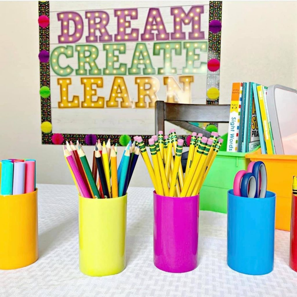 Online Remote learning at home classroom decor