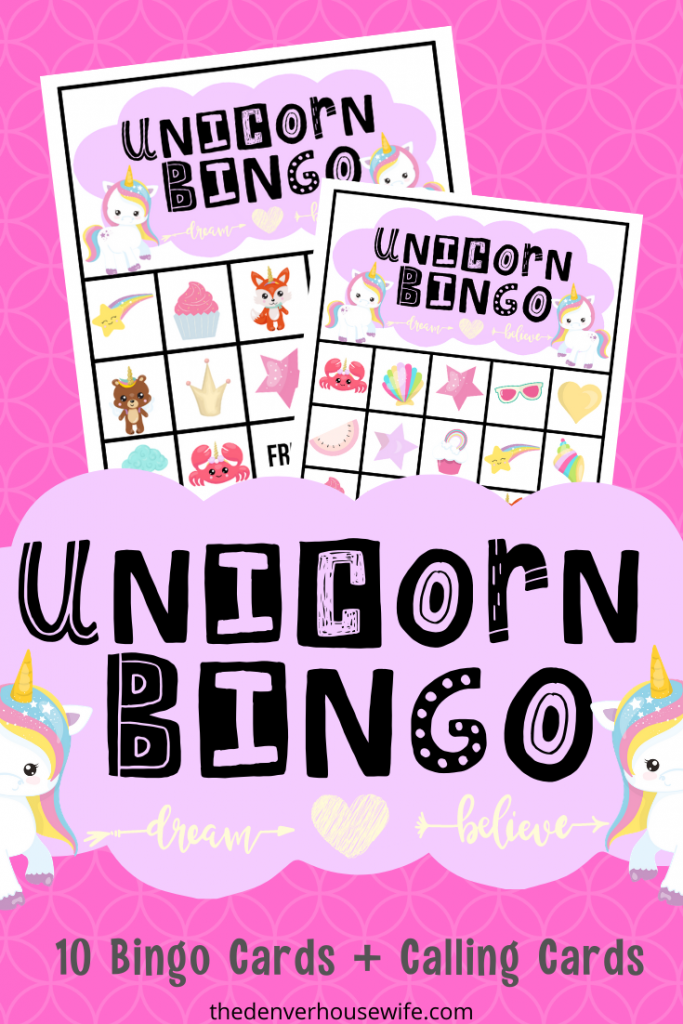 Unicorn Bingo Printable Game Free Birthday