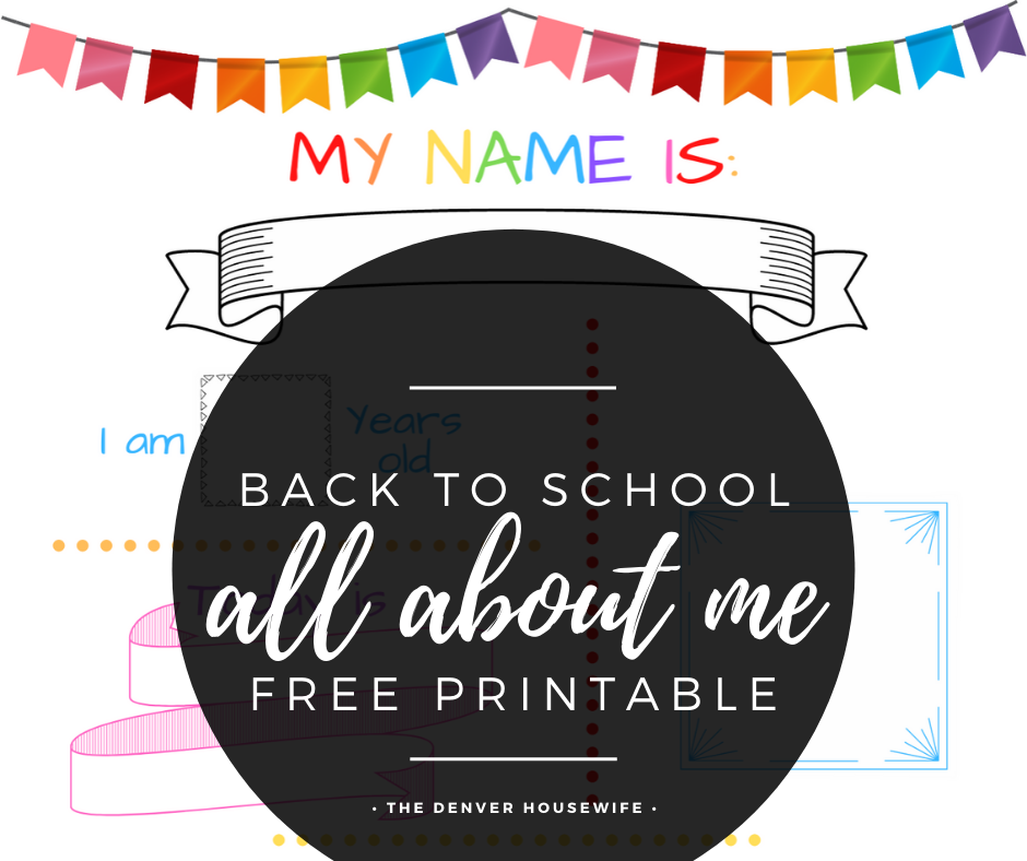 all about me back to school free printable