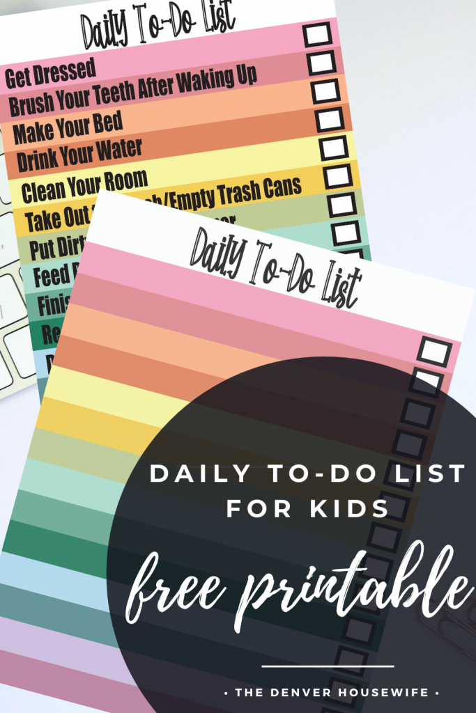 daily to-do list for kids free printable