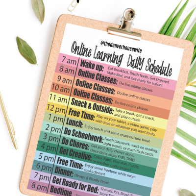 Online Learning Daily Schedule for Kids