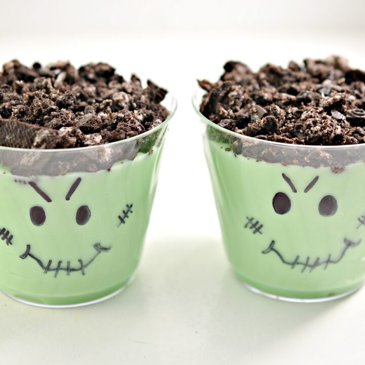 Monster Halloween Cookie Pudding Cups