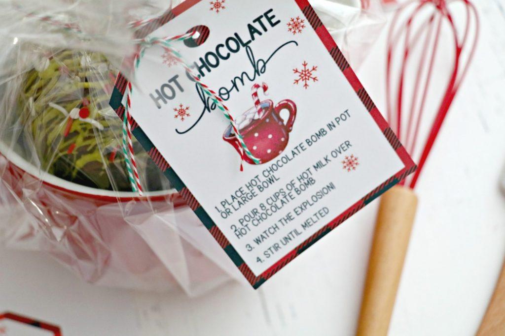 free printable hot chocolate bomb gift tag