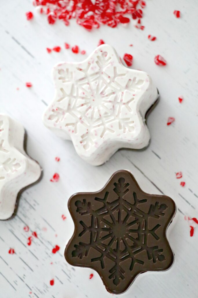 Peppermint Bark Snowflake Hot Chocolate Bombs