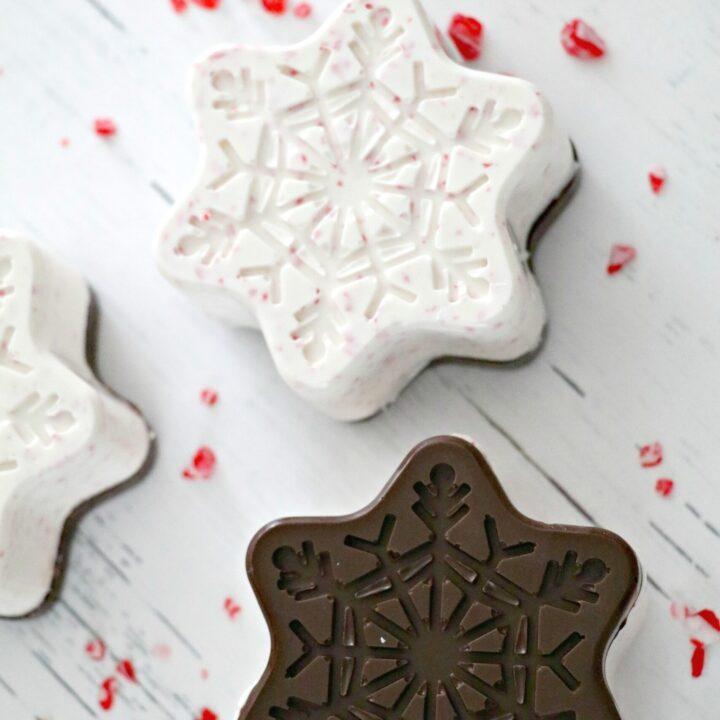Peppermint Bark Snowflake Hot Chocolate Bombs
