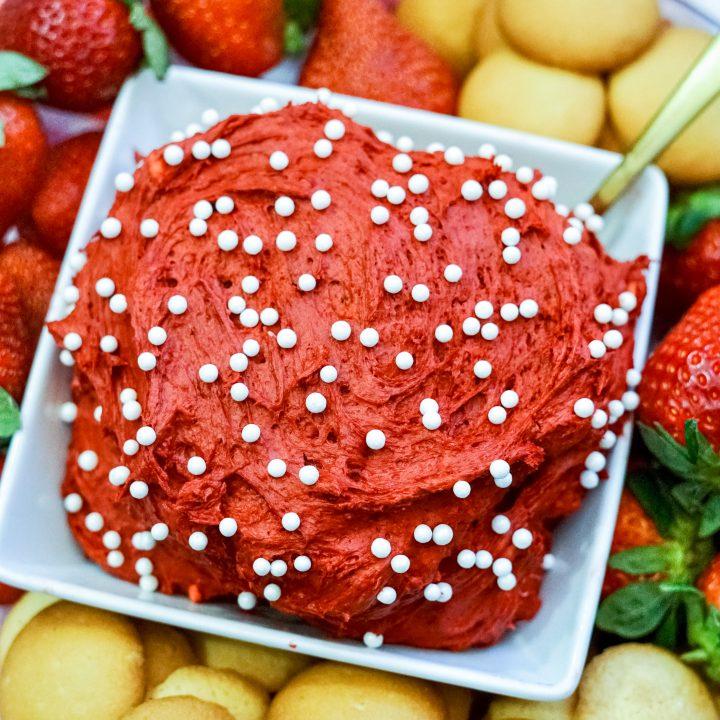 red velvet cake batter dip valentine's day