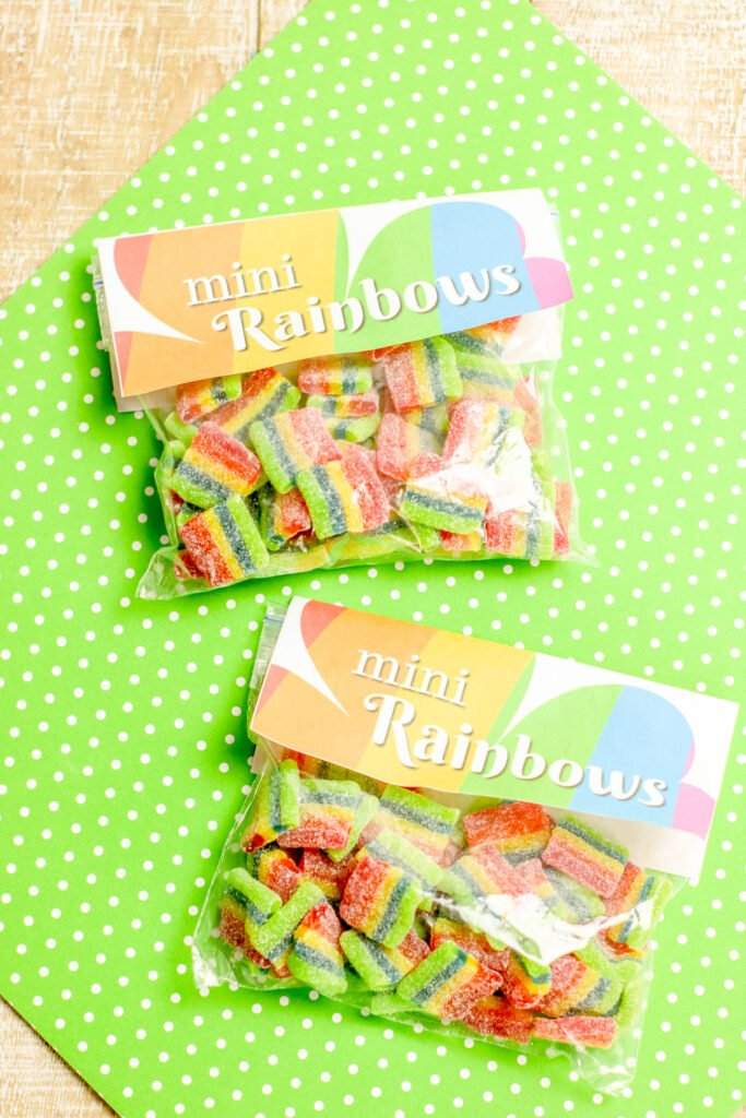 mini rainbow treat bags