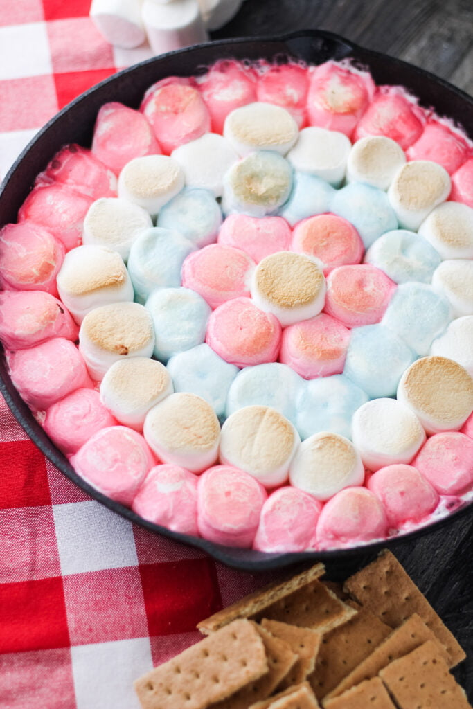 red white and blue s'mores dip