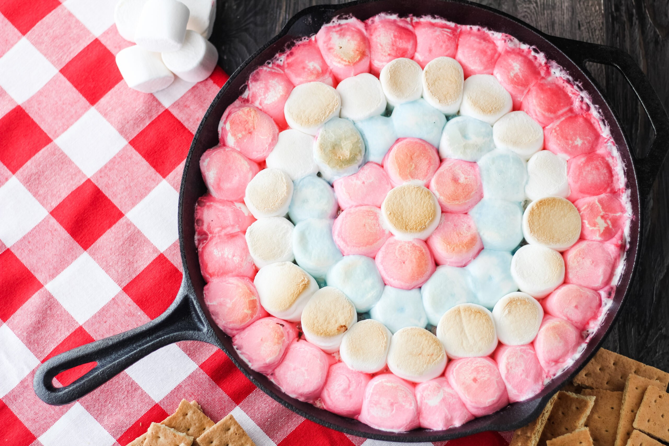 red white and blue smores dip