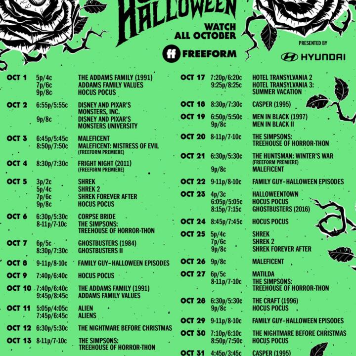 Freeform 31 Nights of Halloween 2021 Free Printable Schedule