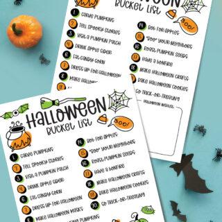 Halloween Bucket LIst for Kids Free Printable