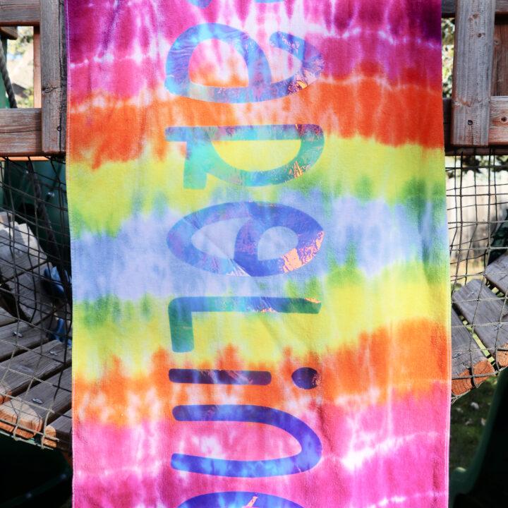 Cricut Personalized Name Tie Dye Towels
